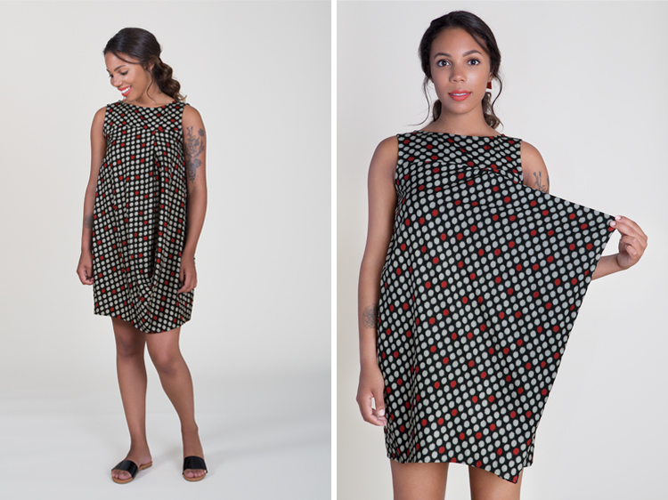 Black, Grey and Red Dotted Draped Cocoon Dress