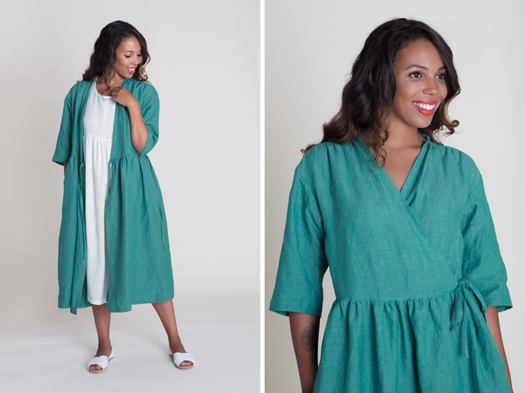 Turquoise Linen Wrap Dress/Coat