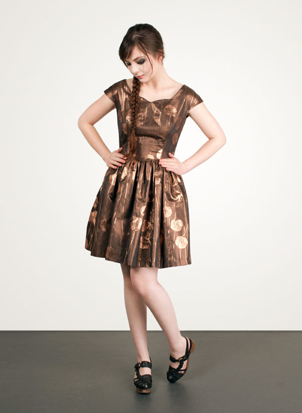 Jamie Lau Designs Copper Metallic Brocade Sweetheart Dress