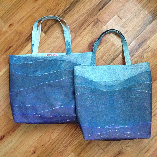 Blue Gradient Tote Bags in a textured linen-cotton canvas and organic cotton sateen