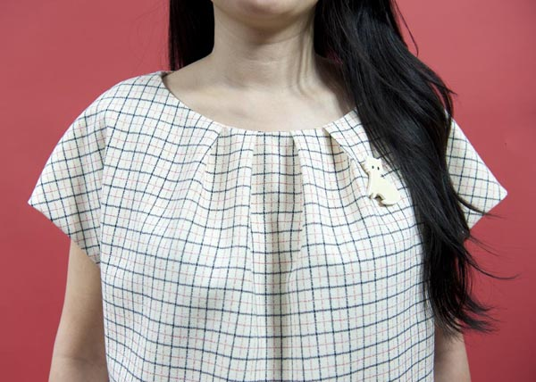Jamie Lau Designs Windowpane Pleated Top 1