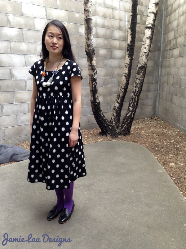 Jamie Lau Designs Black and White Dotted Ikat Midi Dress 1