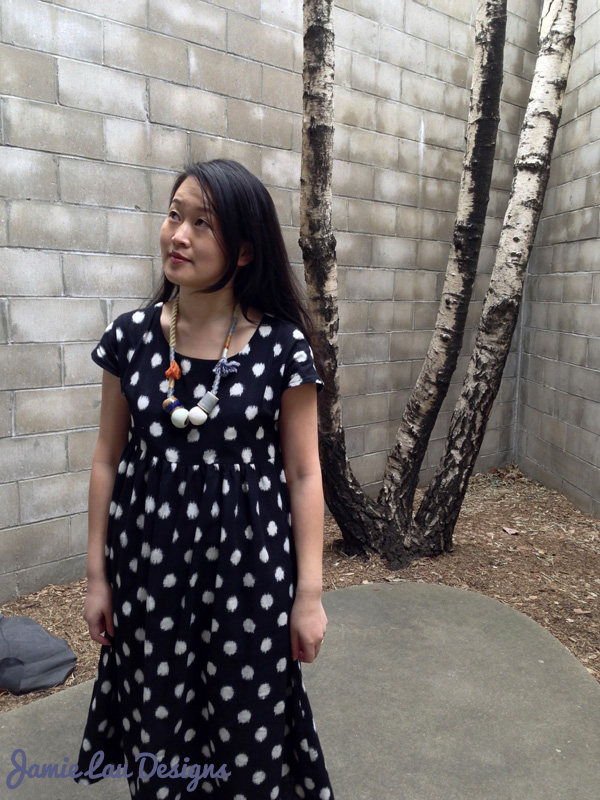 Jamie Lau Designs Black and White Dotted Ikat Midi Dress 2