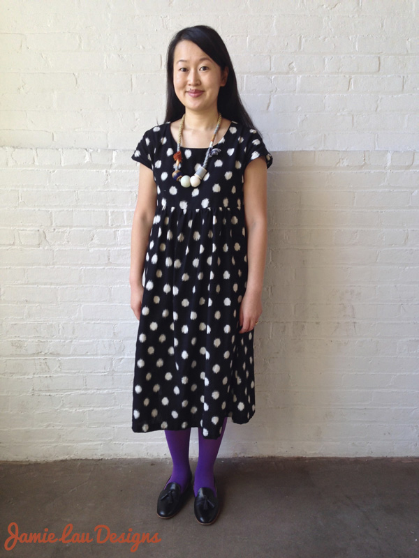 Jamie Lau Designs Black and White Dotted Ikat Midi Dress 3