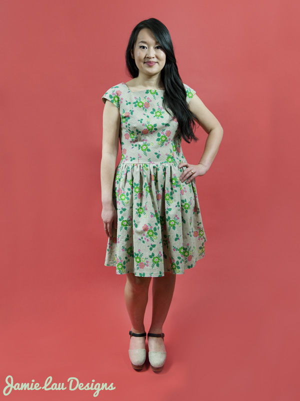 Jamie Lau Designs Spring Floral Linen-Cotton Gathered-Waist Dress 1