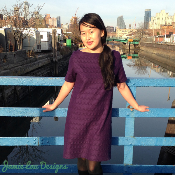Jamie Lau Designs Aubergine Scalloped Wool A-line Dress