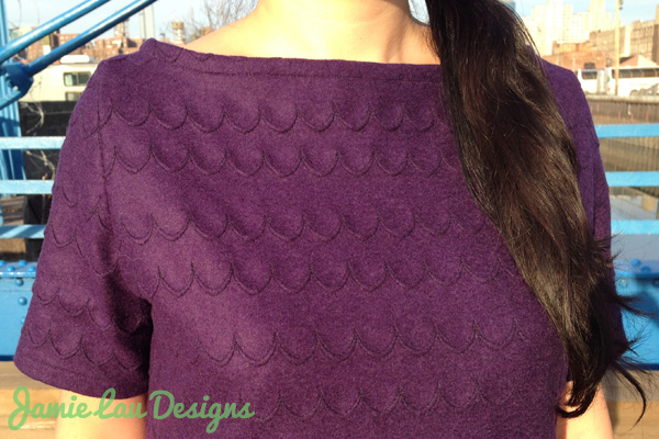 Jamie Lau Designs Aubergine Scalloped Wool A-line Dress 2