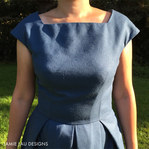 JLD Indigo Basketweave Raw Silk Cap Sleeve Pleated Dress 2