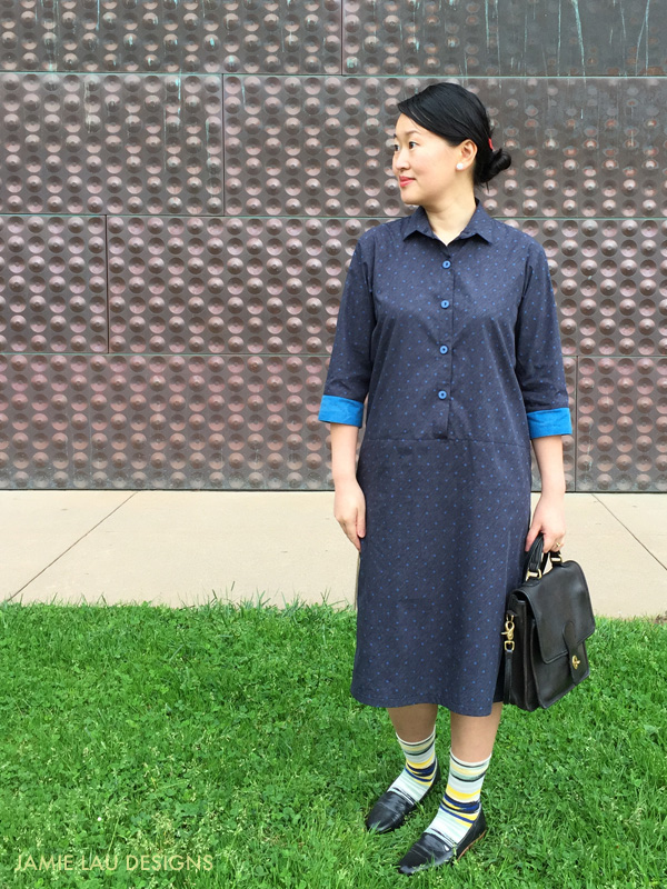 JLD Colorblock Polka Dot Shirt Dress 2
