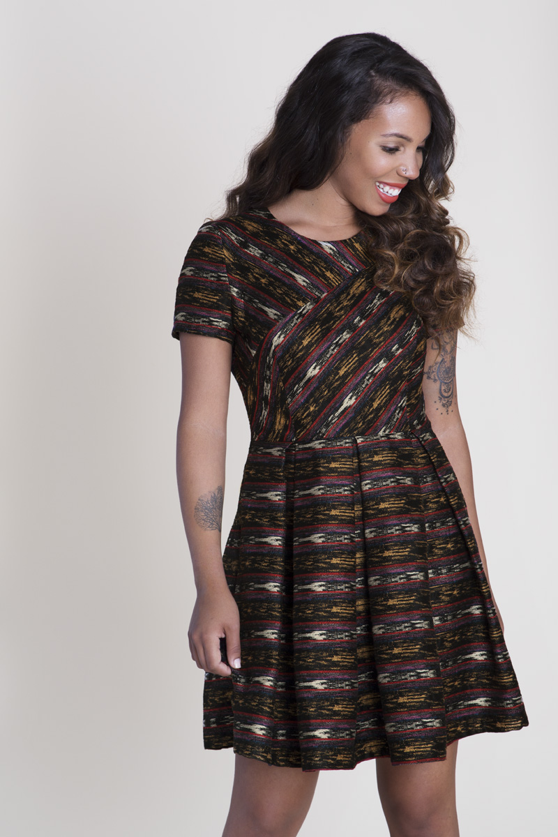 Metallic Ikat Striped Geometry Dress 2
